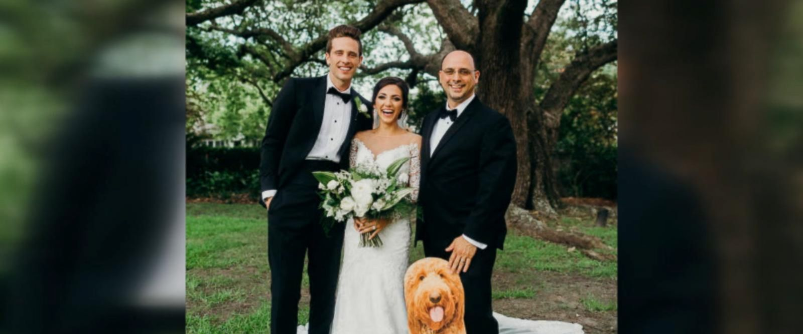 Hillary Bowles' dad surprised her with a cardboard cutout of her dog, Leo, at her July 3 wedding in Charleston, South Carolina.