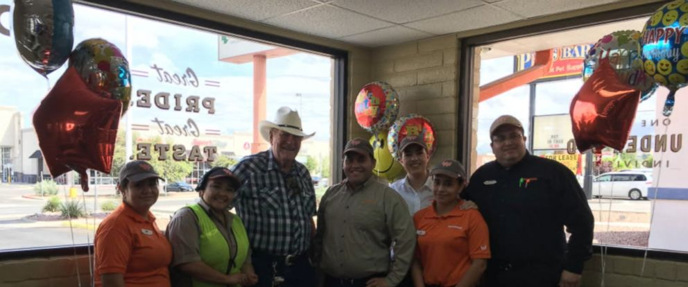 Ed Johnson, a loyal Whataburger customer, was surprised with balloons and cake when he arrived on his birthday.
