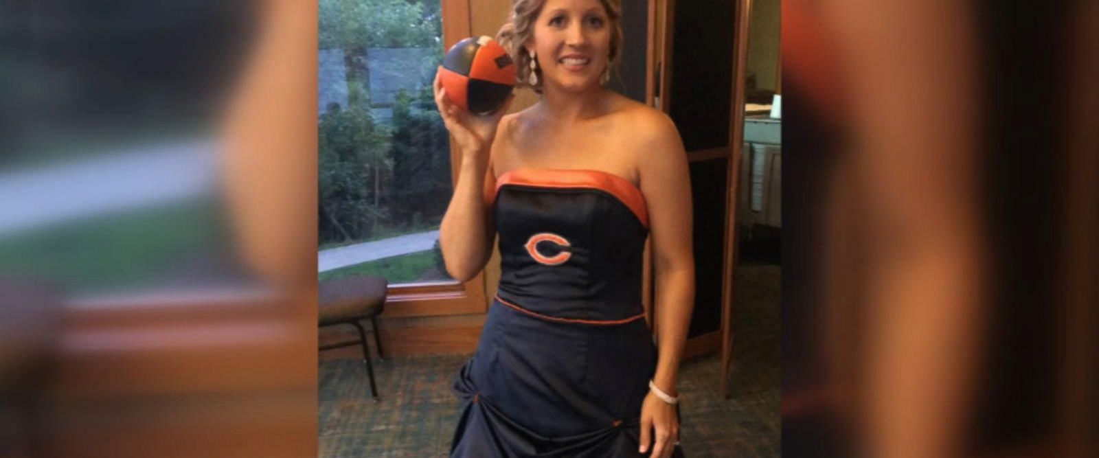 Brittney Harmon surprised her die-hard Bears fan father, Steve Benda, by wearing a team-themed dress at her wedding on July 22.