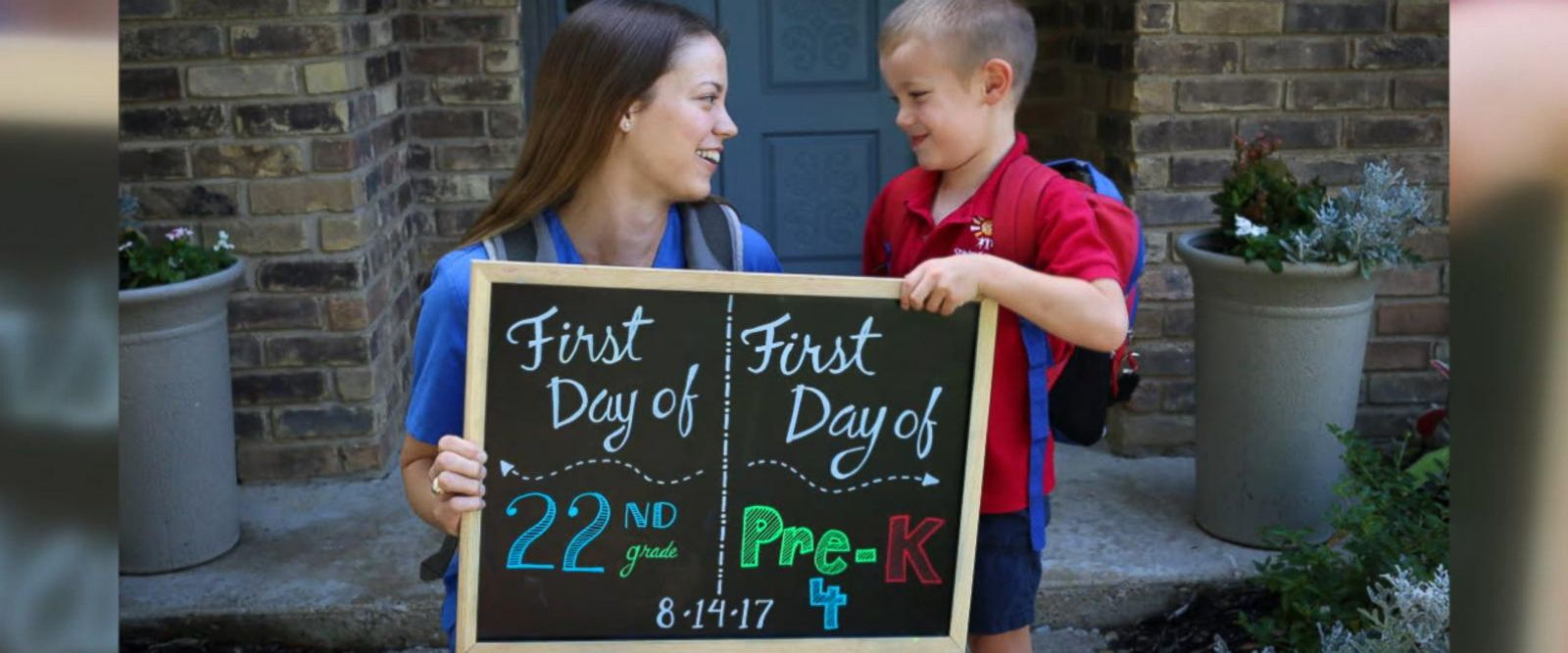 Katie Tucker and son Edric, 4, of Dallas, commemorated their first days of school with an adorable photo announcement.