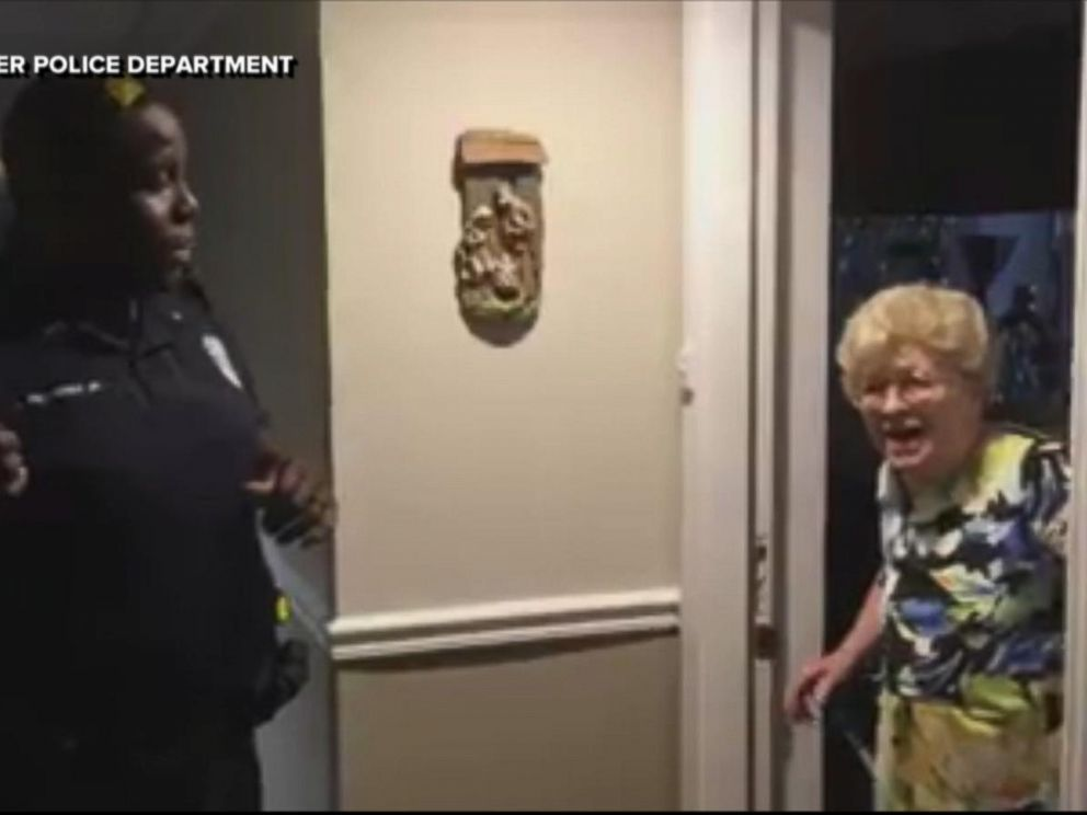 Betty Helmuth of Clearwater, Florida, was thrilled to see police officers at her door on Sept. 7, with water and groceries in tow.