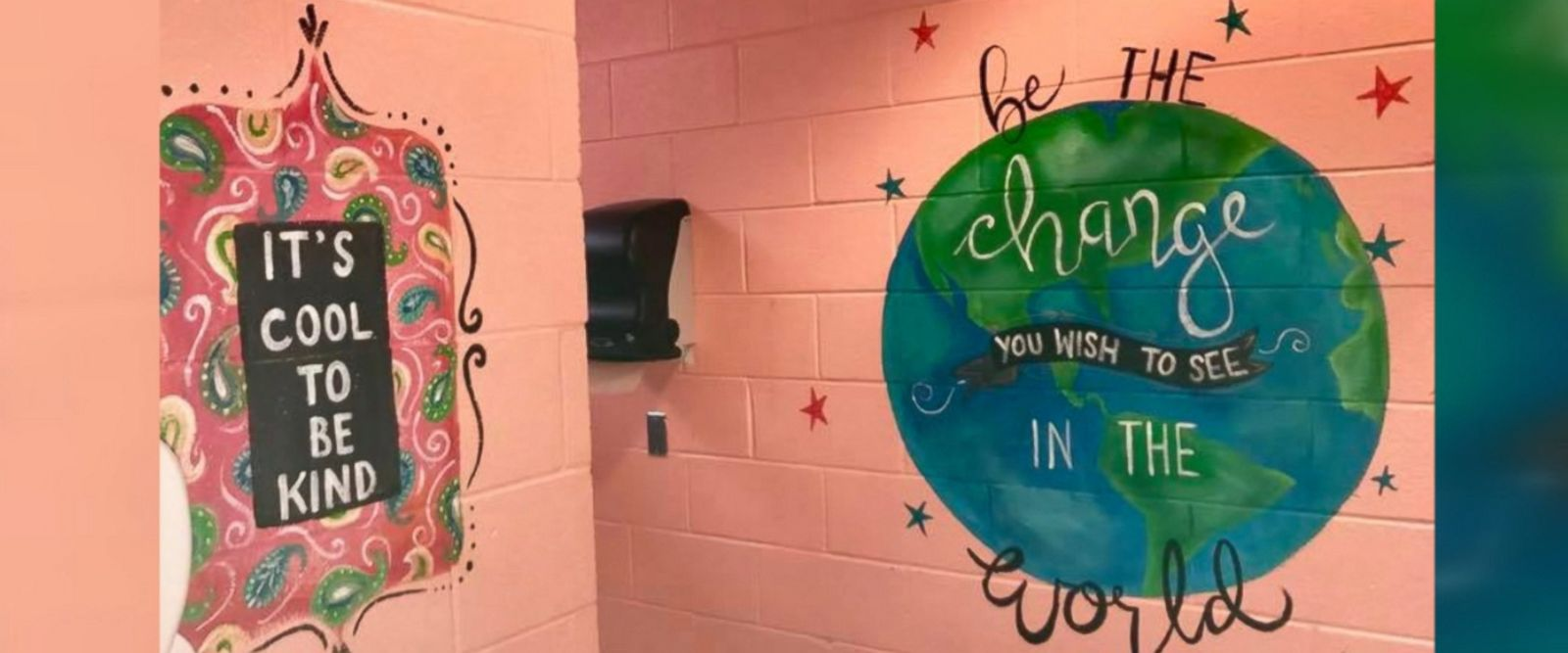 "Shari Jackson Link of Fayetteville, North Carolina, painted the positive messages in the girls' bathrooms at Fayetteville Academy to ""inspire them to be nice."""