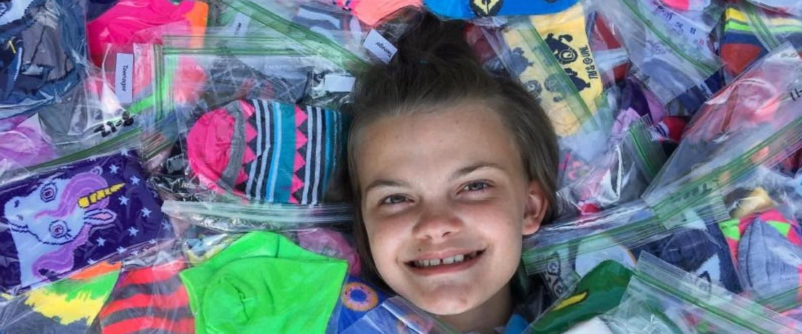 Emma Becker, 12, has collected thousands of pairs of socks for her friends at Connecticut Children's Medical Center.