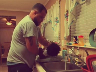 WATCH:  Dad and daughter bond while washing her hair