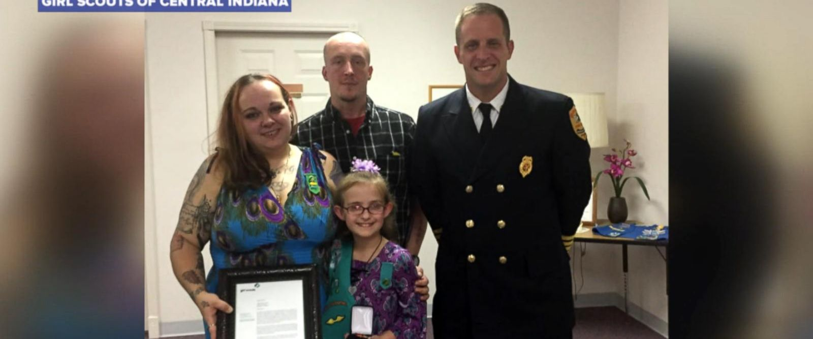 VIDEO: 9-year-old Girl Scout honored for saving mom after car crash