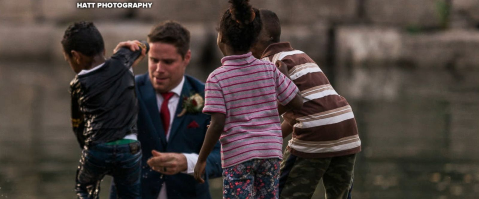 Clay Cook of Cambridge, Canada, rescued a little boy struggling in nearby water during his wedding photo shoot on Sept. 22.
