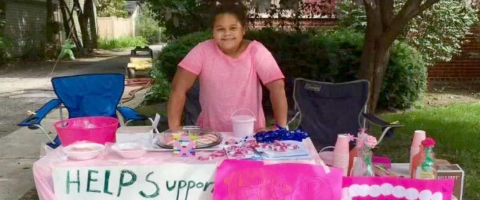 Olivia Ohlson, 10, began selling pink lemonade and pink ribbon cookies to donate to a local cancer center.