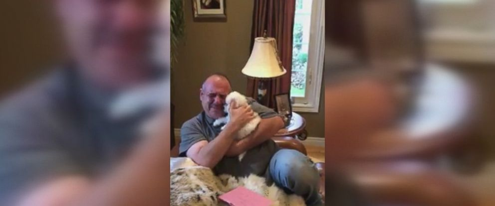 James Xuereb of Ontario was overcome with emotion when his family surprised him with a new bichon frise puppy after he recently lost two of his beloved dogs.