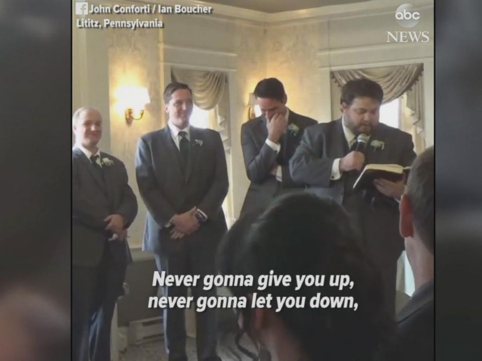 This wedding guests heartfelt reading of Never Gonna Give You Up by Rick Astley cracked up the entire wedding party.