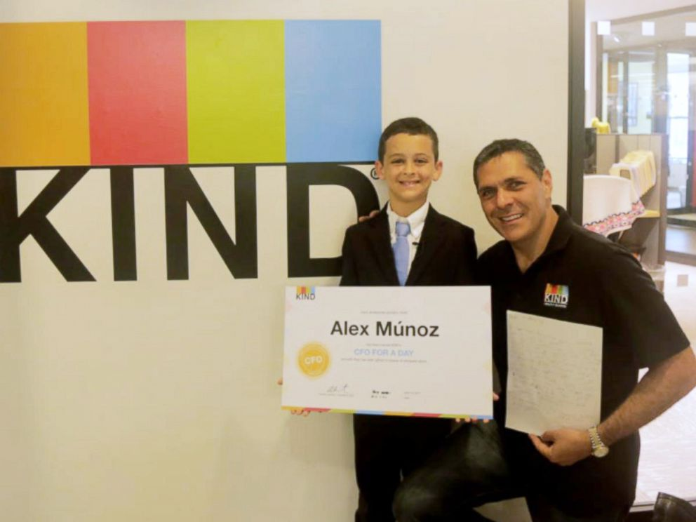 PHOTO: Alex Munoz, 9, was invited to meet the CEO and CFO of Kind Snacks at the companys New York City office after writing a letter to the company.