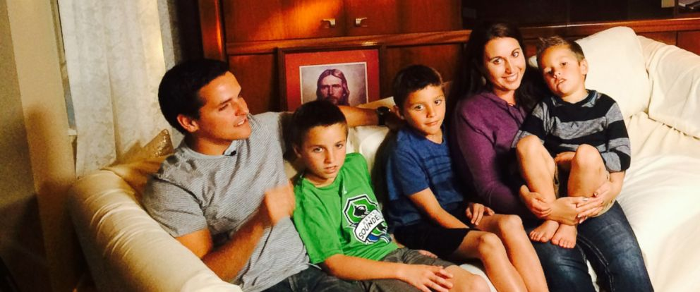 PHOTO: ABC News Abbie Boudreau interviews John and Lisa Henderson and their sons.