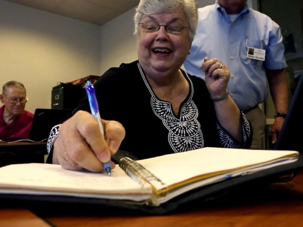 PHOTO: Rita Taggard takes notes while attending a technology class at her retirement community. When I get frustrated, I just stop. Because Ive learned the hard way if I keep pushing buttons, Im not learning a thing, she told ABC News.