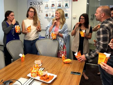 PHOTO: ABC News employees taste-tested Burger Kings Mac n Cheetos, three days before the fast food restaurants limited-time release of the snack.