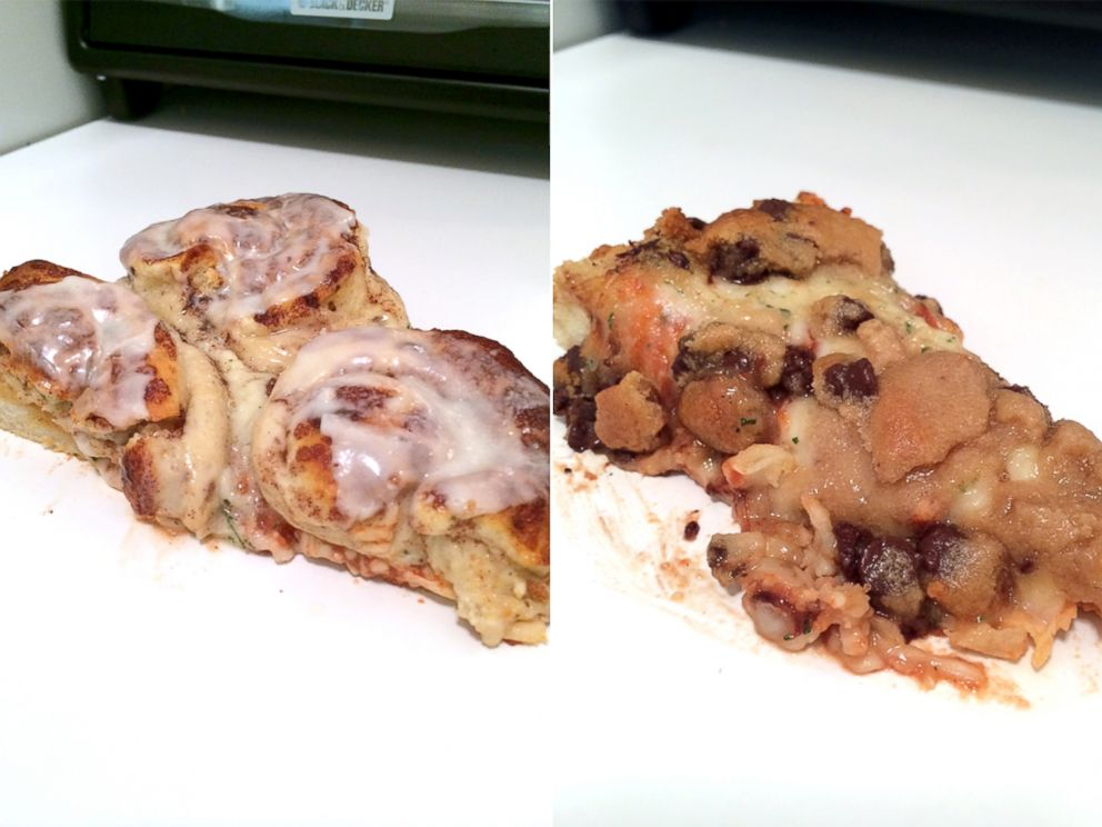 PHOTO: Chocolate chip cookies and cinnamon buns on a pizza.
