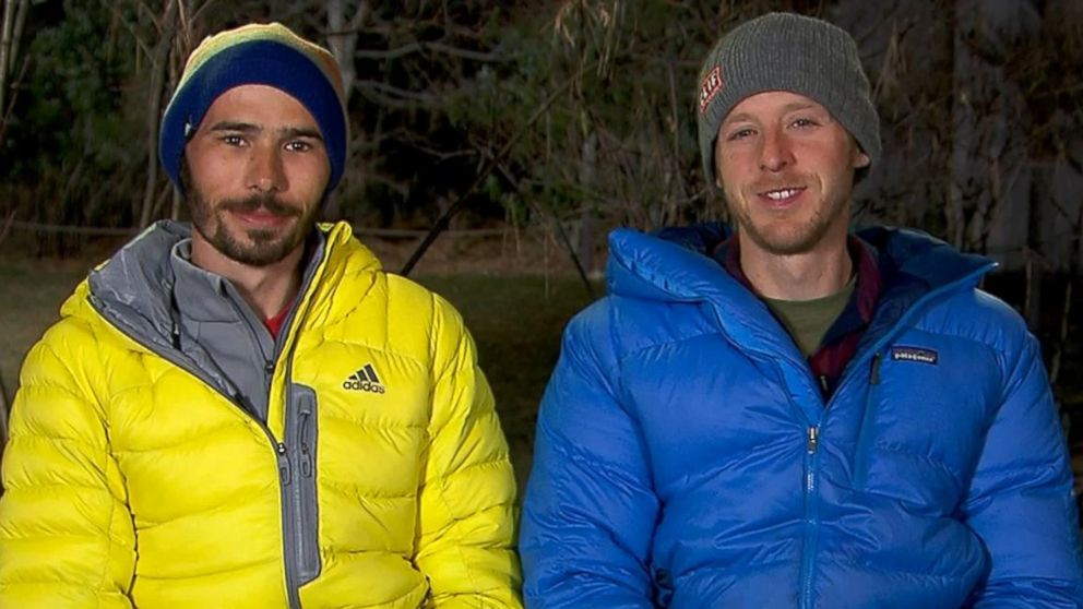PHOTO: Kevin Jorgeson, left, and Tommy Caldwell, right, discuss their record-setting El Capitan climb on Good Morning America.