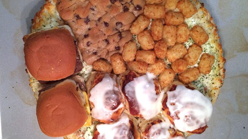 PHOTO: What happens when you top a pizza with chocolate chip cookies, cinnamon buns, cheeseburgers and tater tots.