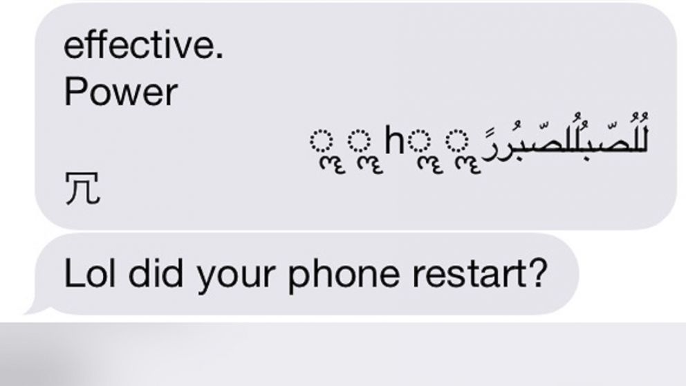 PHOTO: Some iPhone users have reported receiving a weird text message bug.