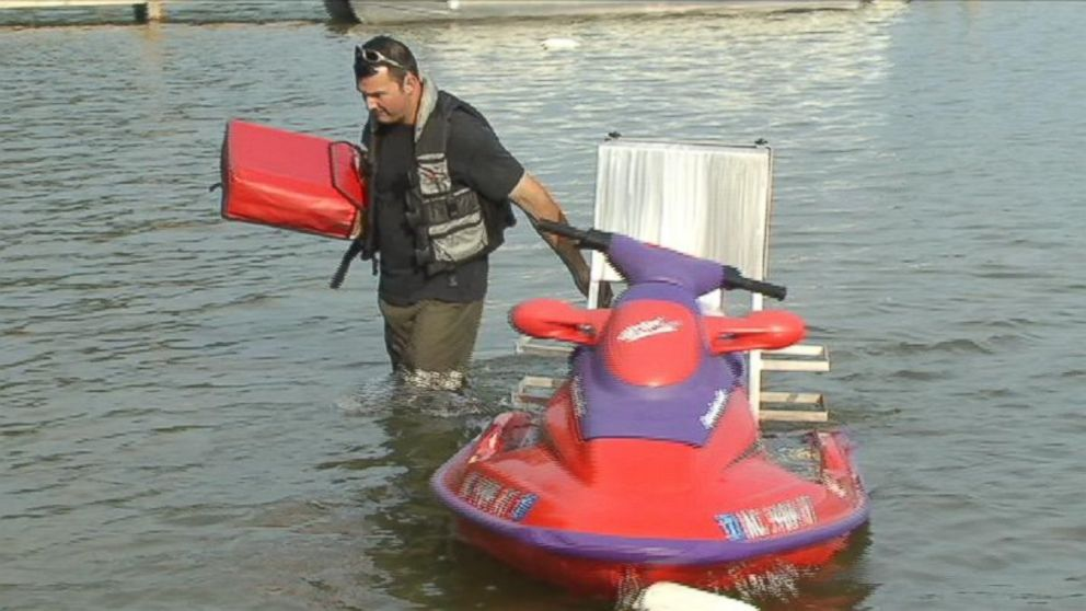 PHOTO: Nick Ferrugia had a custom built pizza holder made and mounted to a jet ski.