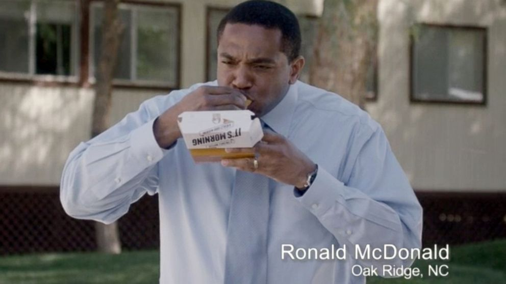 PHOTO: Ronald McDonald of Oak Ridge, N.C., appears in a Taco Bell commercial. The fast-food chain has begun airing ads that feature everyday men who happen to have the same name as the McDonalds mascot.