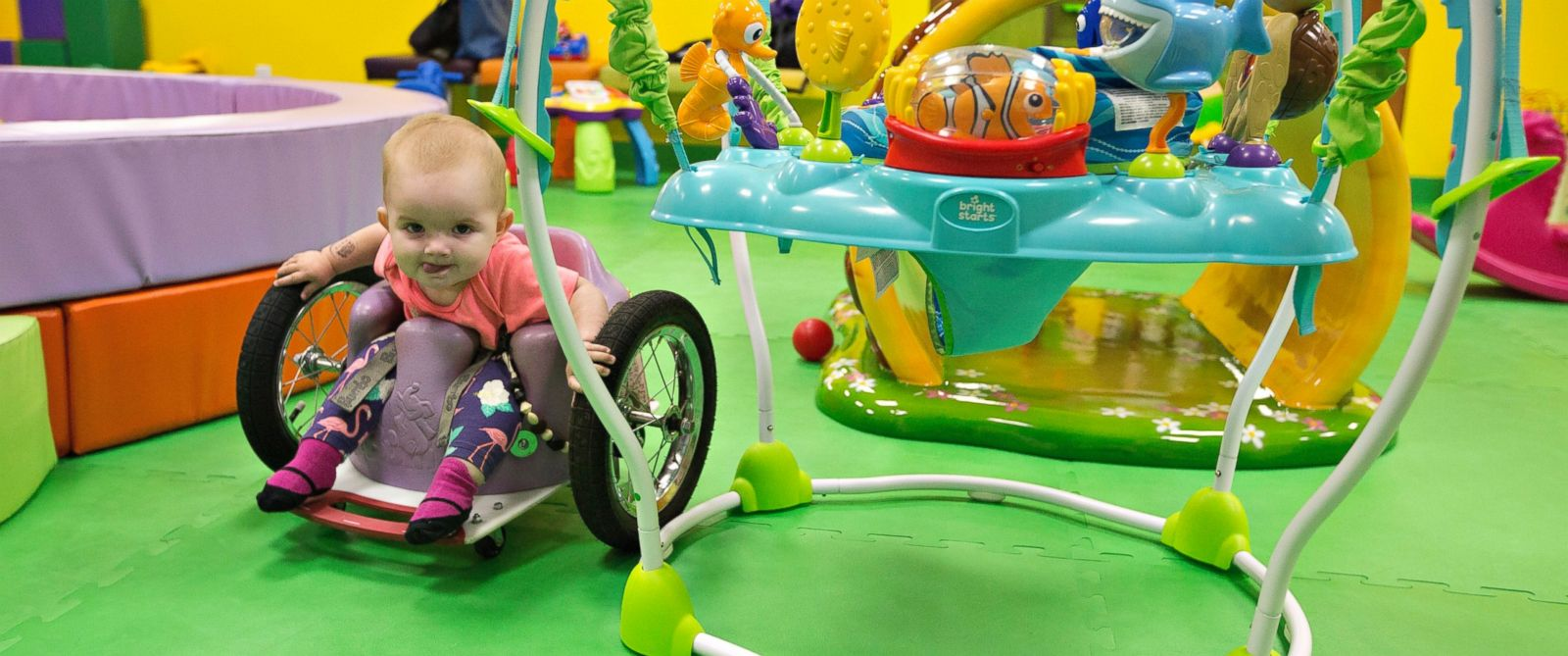 PHOTO: One-year-old Eva Moore plays at an indoor play ground in Edmonton, Alberta, Canada , Aug. 9, 2016. Evelyn, also called Eva by her family, was diagnosed with cancer following her four-month check up.