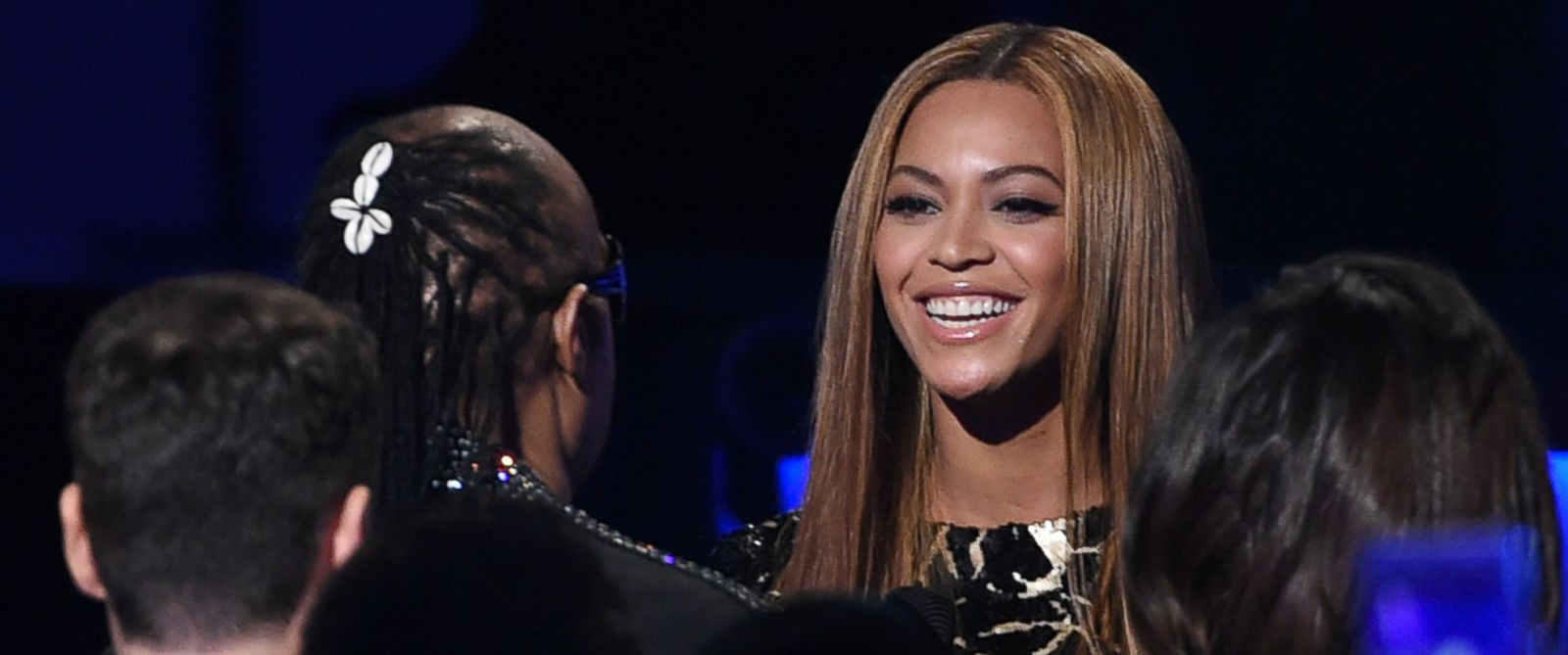 "PHOTO: Beyonce, right, greets Stevie Wonder in the audience before her performance at ""Stevie Wonder: Songs in the Key of Life - An All-Star Grammy Salute,"" Feb. 10, 2015, in Los Angeles."