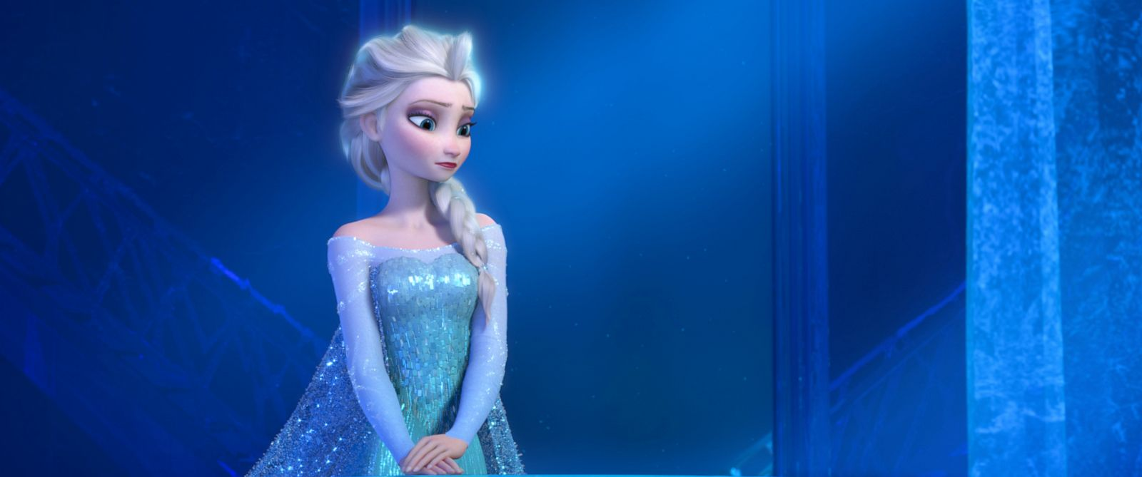 "PHOTO: Elsa the Snow Queen, voiced by Idina Menzel, in a scene from the animated feature ""Frozen."""