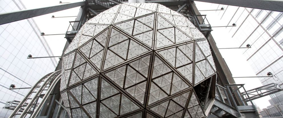 PHOTO: The Waterford crystal ball is shown on top of One Times Square during a media opportunity, Dec. 27, 2015, in New York.
