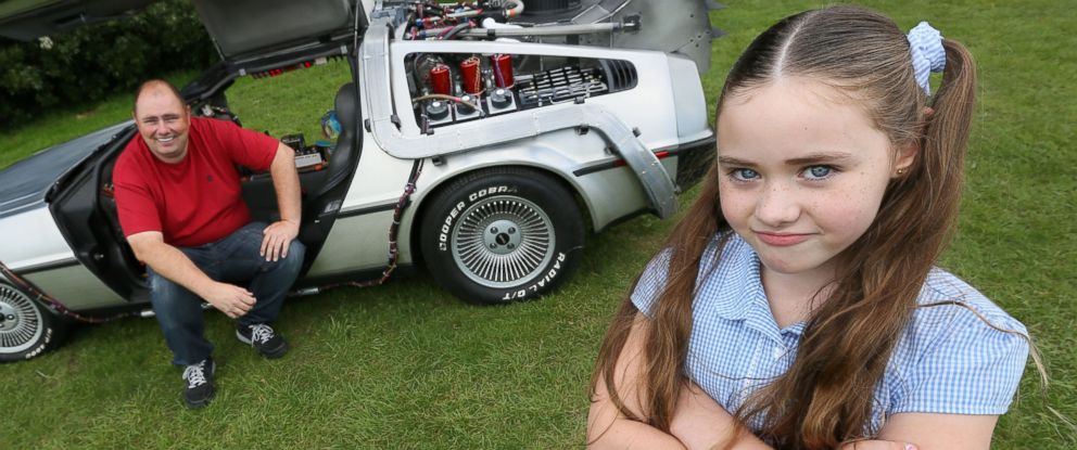 PHOTO: A film fanatic dad has found a way to make sure his daughter is never late for school by driving every morning in his Back to the Future DeLorean.