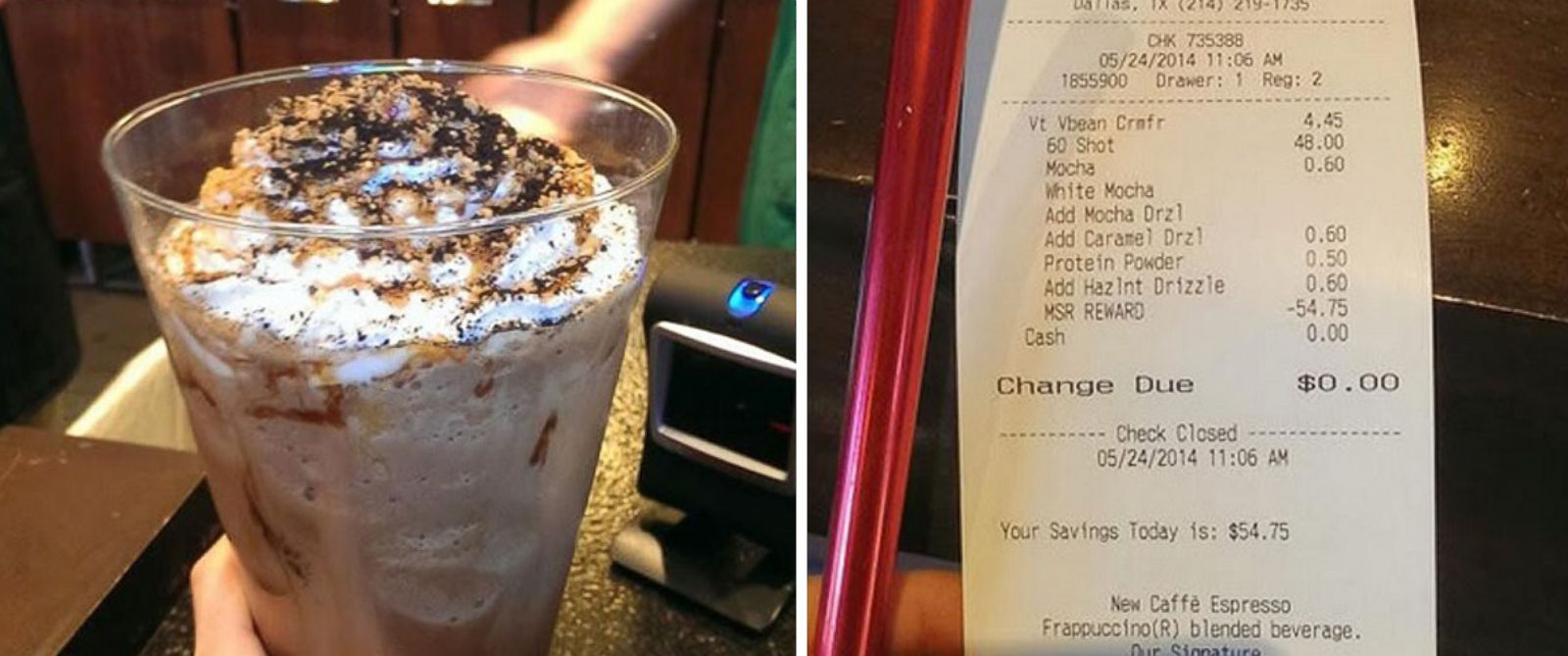 PHOTO: Taking advantage of Starbucks free loyalty program, a customer created a custom drink that cost $54.75, but it was free for him.