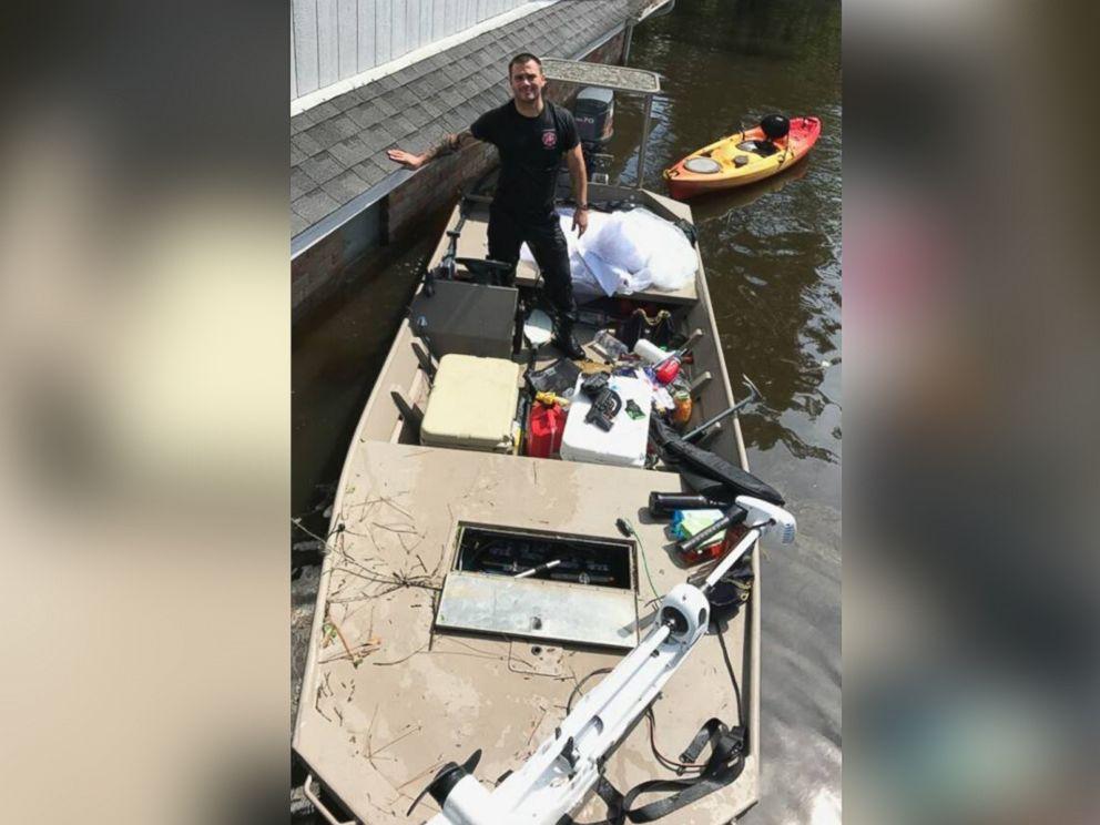 PHOTO: Kyle Parry, 35, a firefighter from Lumberton, Texas, found his fiance Stephanie Hoekstras, 33, wedding gown untouched by the floodwaters of Hurricane Harvey on Aug. 31.