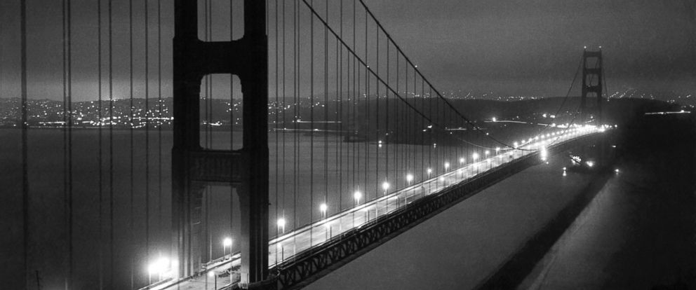 PHOTO: The newly completed Golden Gate Bridge at night waiting for its grand opening in two more days, on May 25, 1937, in San Francisco.
