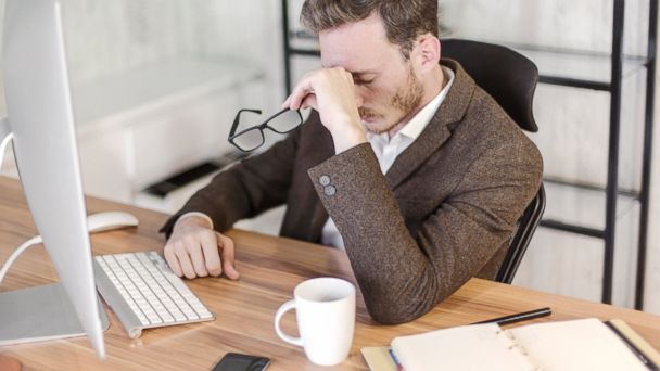 PHOTO: Businessman stressed out in front of a computer in this undated photo.
