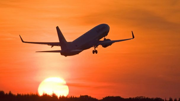 PHOTO: An airplane takes off into the sunset in this undated stock photo.
