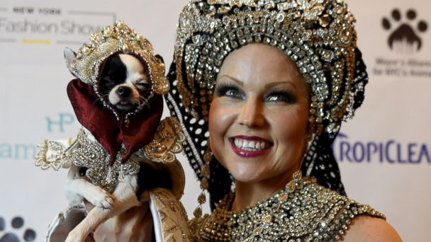 PHOTO: Summer Strand and her dog April Moon pose during the 14th Annual New York Pet Fashion Show, Feb. 9, 2017.