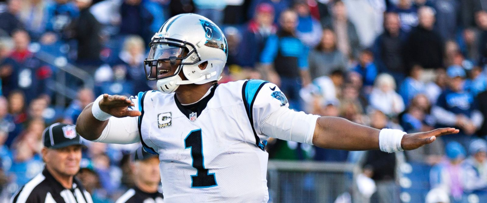 PHOTO: Cam Newton of the Carolina Panthers does his touchdown dance after scoring a touchdown against the Tennessee Titans at Nissan Stadium on Nov. 15, 2015 in Nashville, Tennessee.
