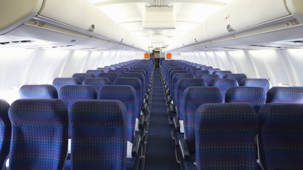 PHOTO: The interior of an airplane with rows of empty seats is pictured in this undated stock photo.