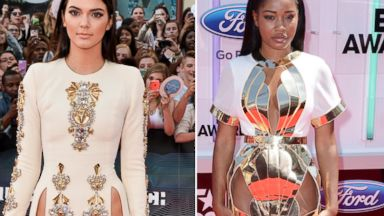 PHOTO: Kendall Jenner arrives at the 2014 MuchMusic Video Awards at MuchMusic HQ, June 15, 2014, in Toronto. Right, Keke Palmer arrives to the 2014 BET AWARDS at Nokia Plaza L.A. LIVE, June 29, 2014, in Los Angeles.