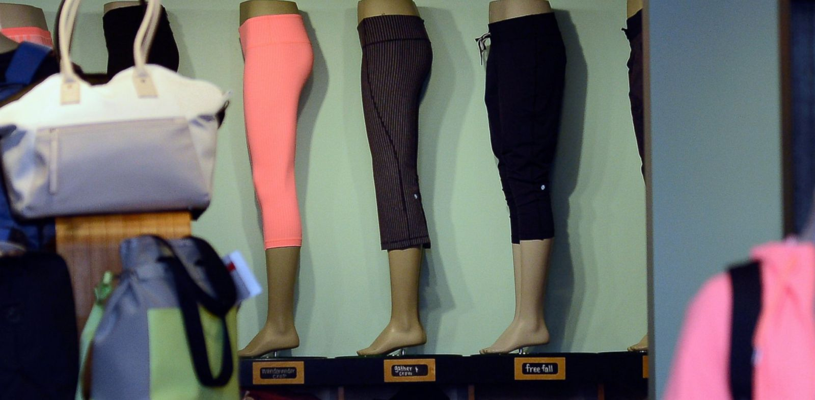 PHOTO: Pants made by Lululemon Athletica Inc. are on display for sale in Pasadena, Calif.
