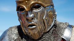 PHOTO: A member of the USA Knights team is seen wearing a face-like helmet shield during the International Medieval Combat championships at the castle of Belmonte, May 4, 2014, in Belmonte, Spain.