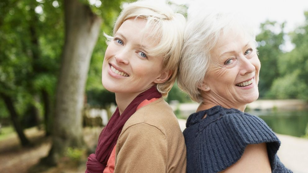 PHOTO: A senior mother and her daughter are pictured near a pond in this stock photo.