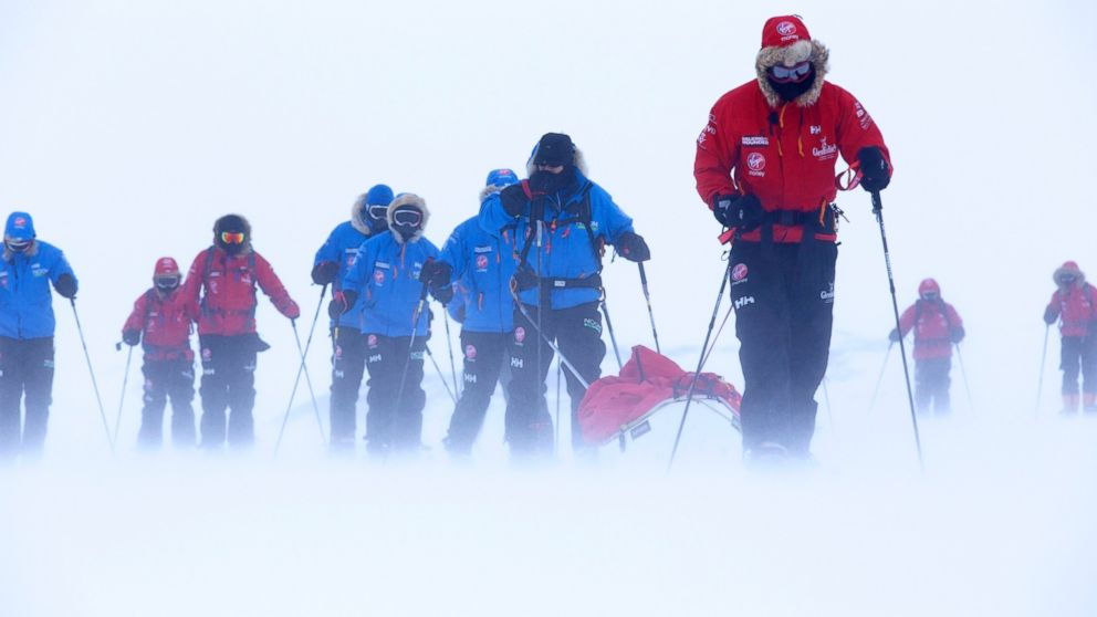 PHOTO: Prince Harry, right, patron of Team UK in the Virgin Money South Pole Allied Challenge 2013 expedition, takes part in ski training near Novo, Antarctica.