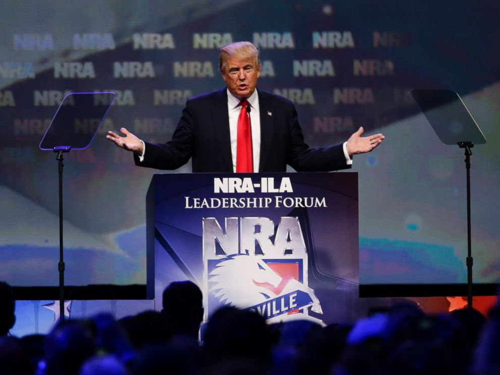 PHOTO: Donald Trump speaks at the NRA Leadership Forum, May 20, 2016, in Louisville, Ky.