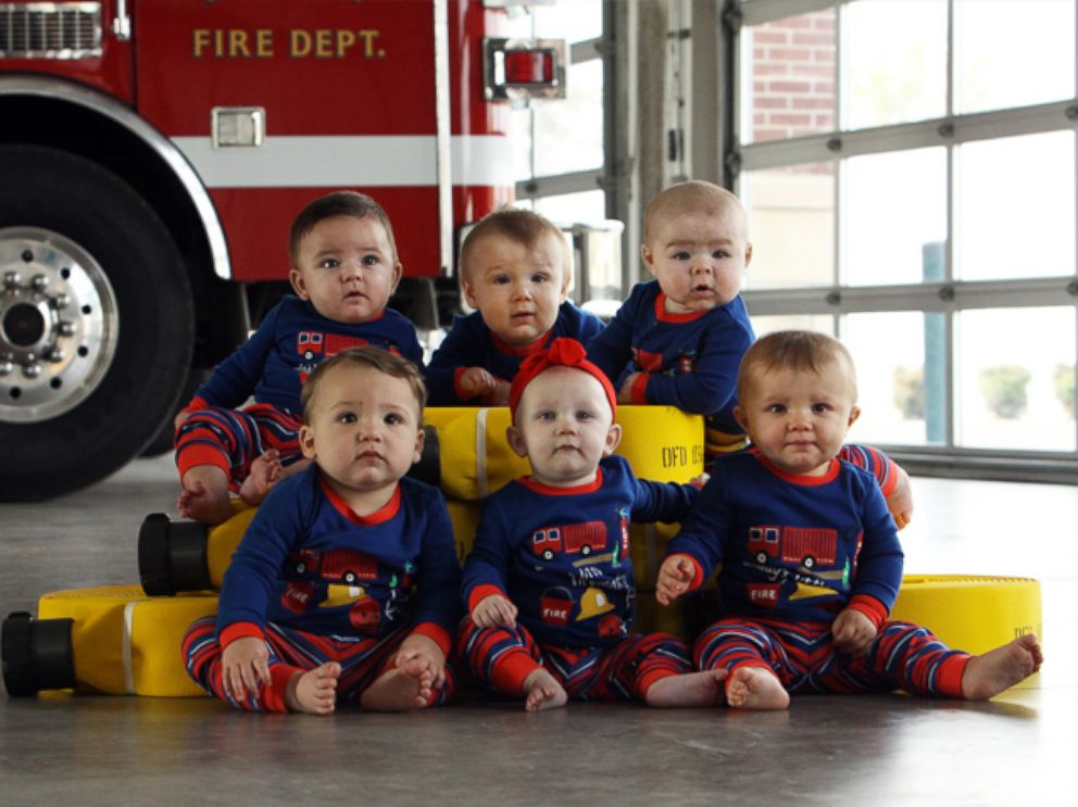 PHOTO: Six babies born to firefighters in Oklahoma pose for adorable fire station Christmas card.