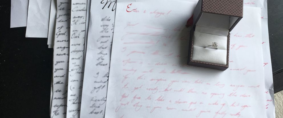 PHOTO: Timothy spent three years asking Candice to marry him through a series of letters that revealed a secret proposal when looked at all at once.