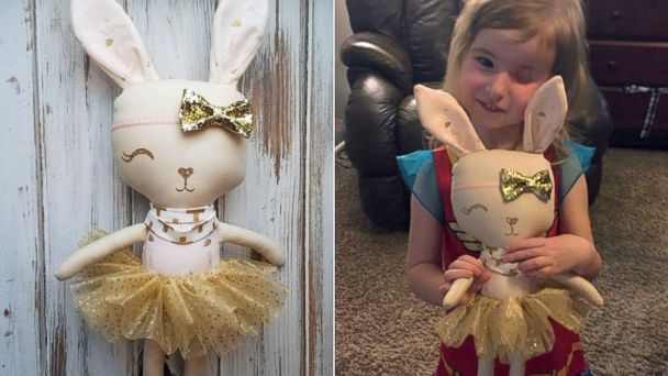 PHOTO: Little Brynn Munger, 3, was surprised for her birthday with a special one-eyed bunny doll to match her.
