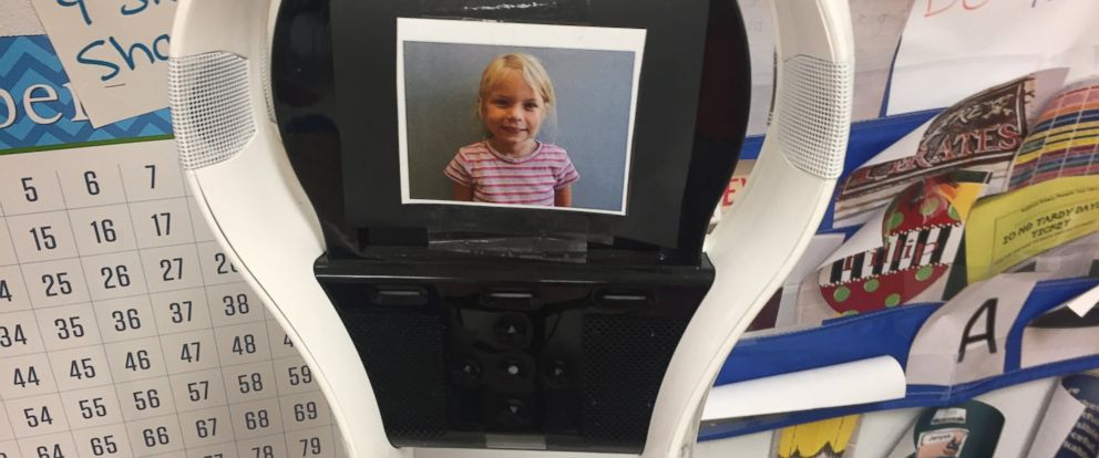 PHOTO: PJ Trojanowski of Robinson, Texas is interacting with her kindergarten classroom through a VGo robot after her cancer diagnosis and compromised immune system forced her to miss school.