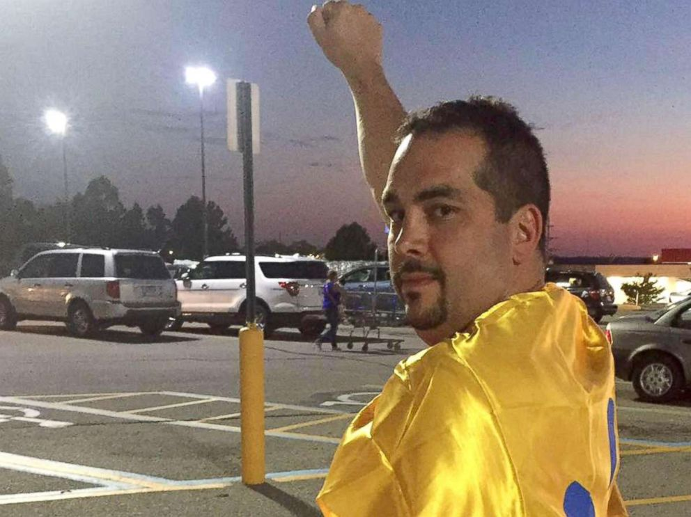 PHOTO: James Fruits was given a $10 Walmart giftcard and a Walmart cape after singing the national anthem over an intercom at a Walmart supercenter in Osage Beach, Missouri on July 8.