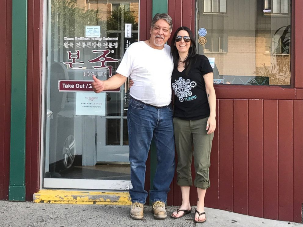 PHOTO: Al Annunziata, 63 and his daughter, Jyll Justamond, stand in front of what used to be the bar Annunziata worked in 40 years ago in Palisades Park, New Jersey.