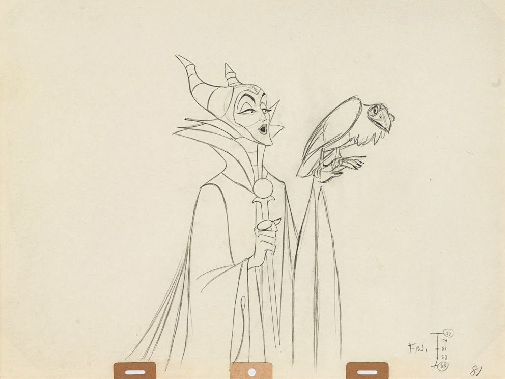 PHOTO: An animation drawing of Maleficent from Sleeping Beauty, Walt Disney Studios, 1959. Made with graphite on paper, matted and framed. Estimate: $500-700.