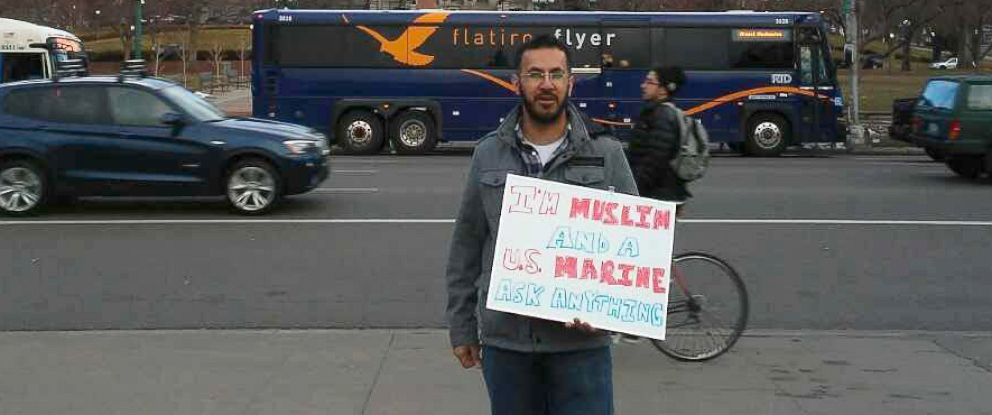 PHOTO: Mansoor Shams, who served for four years as a Marine, is traveling the U.S. to educate people on what it is to be a Muslim.